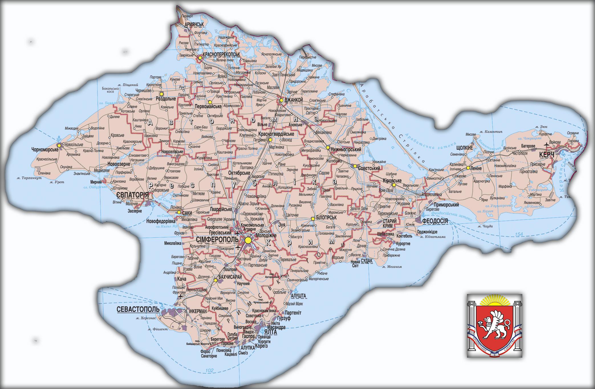 Топографическая карта Автономной Республики Крым
