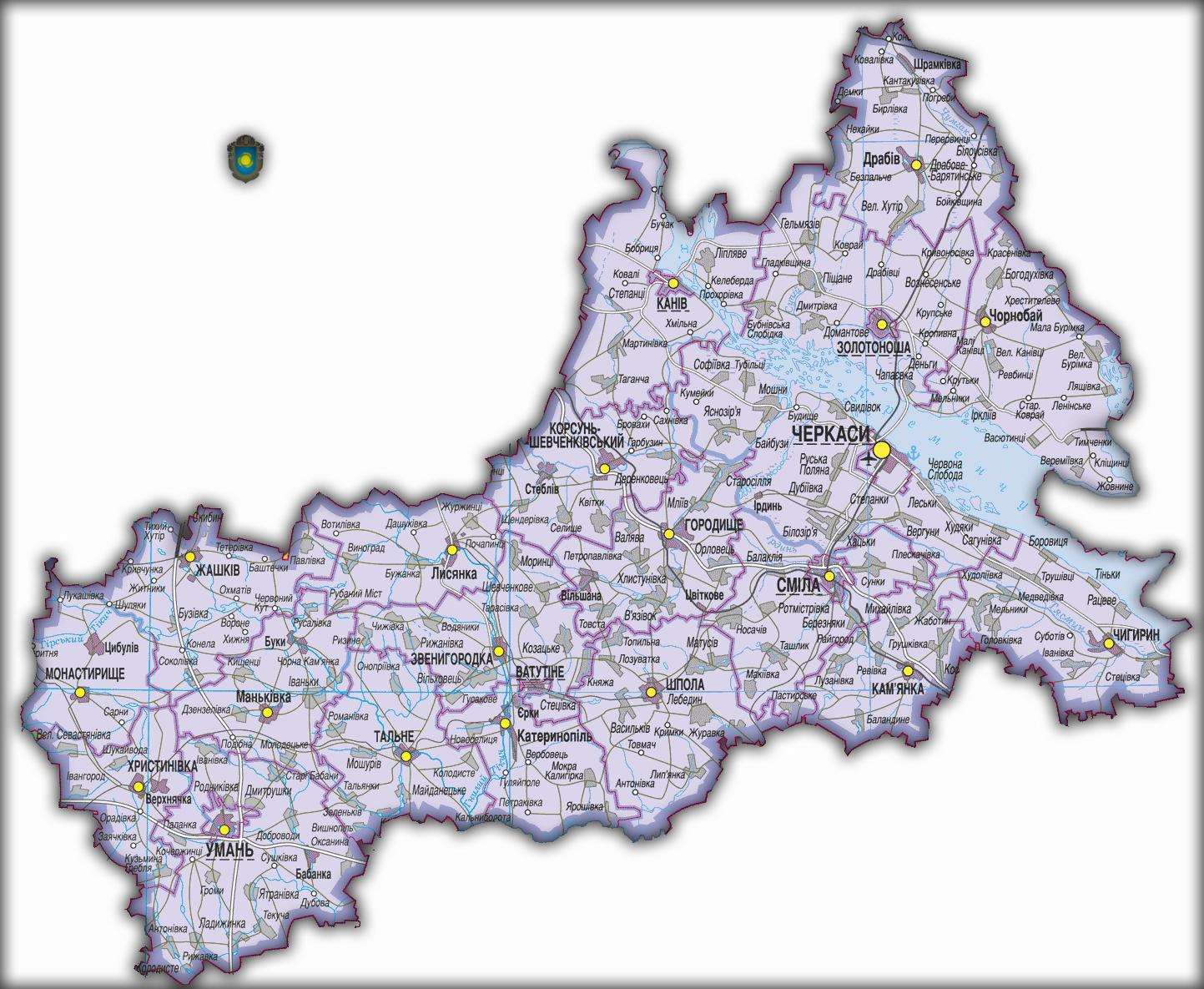 Топографическая карта Черкасской области