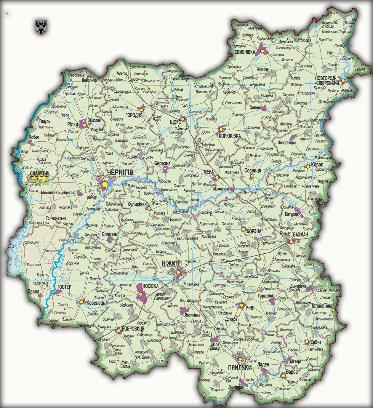 Топографическая карта Черниговской области