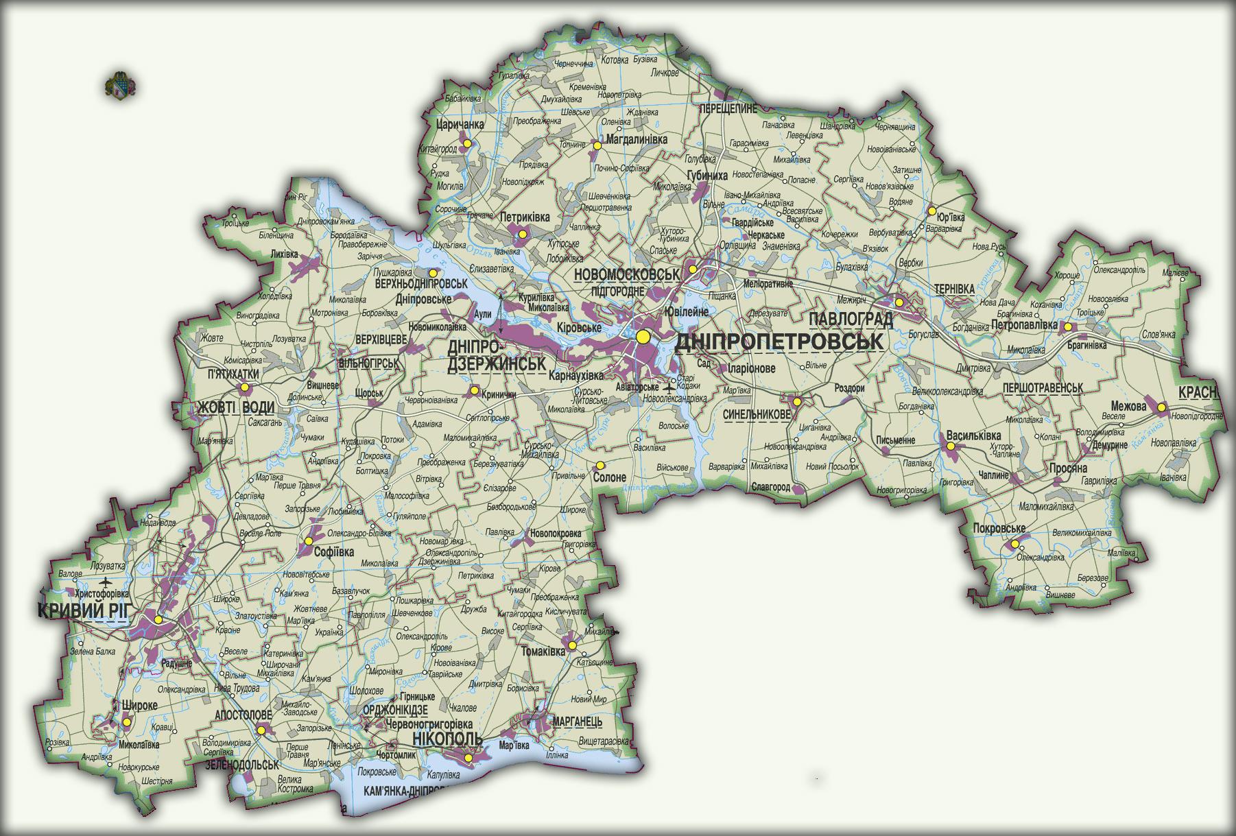 Топографическая карта Днепропетровской области