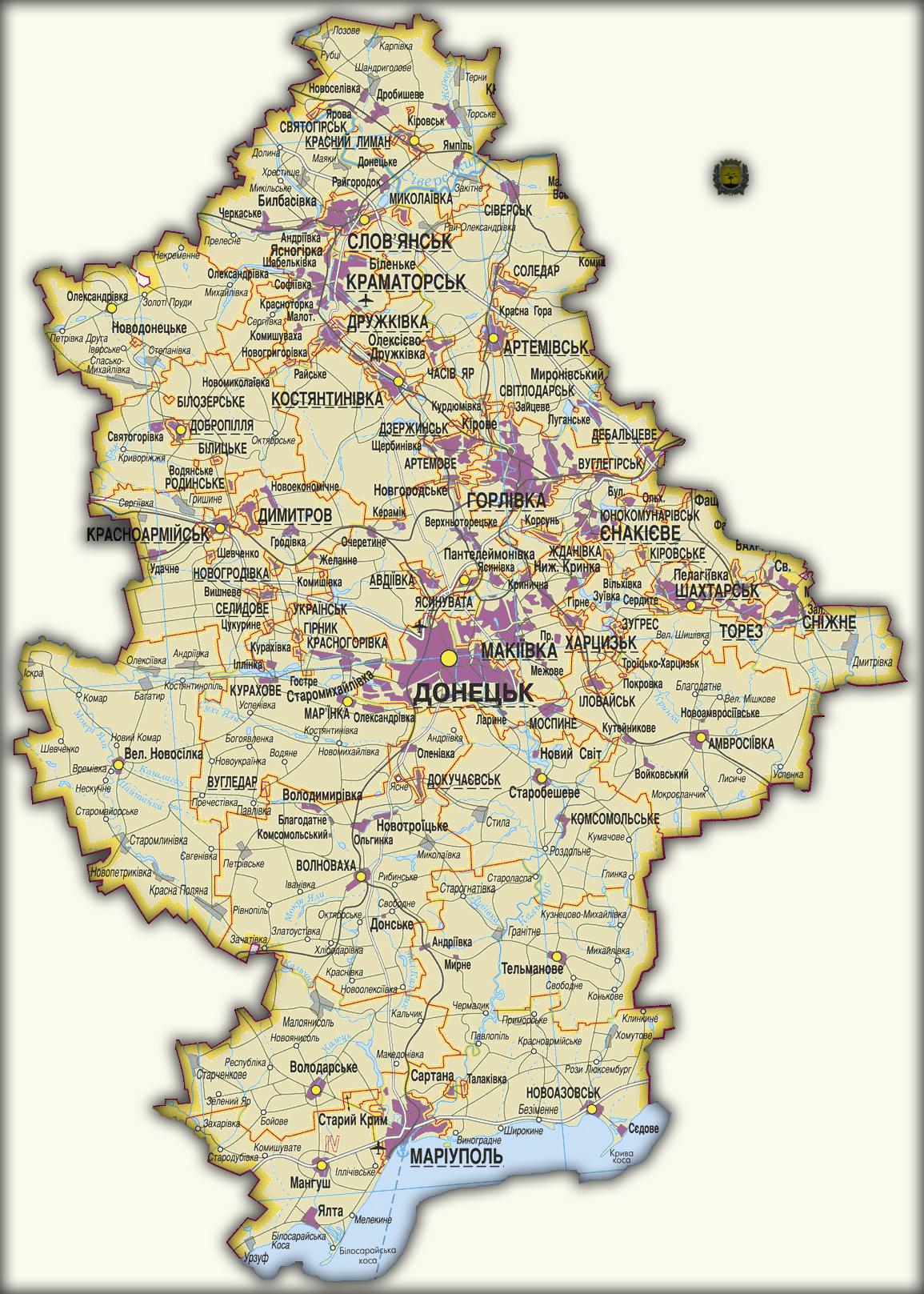 Топографическая карта Донецкой области