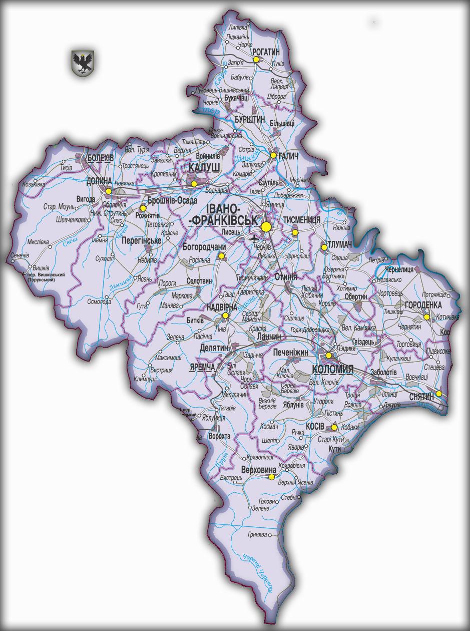 Топографическая карта Ивано-Франковской области
