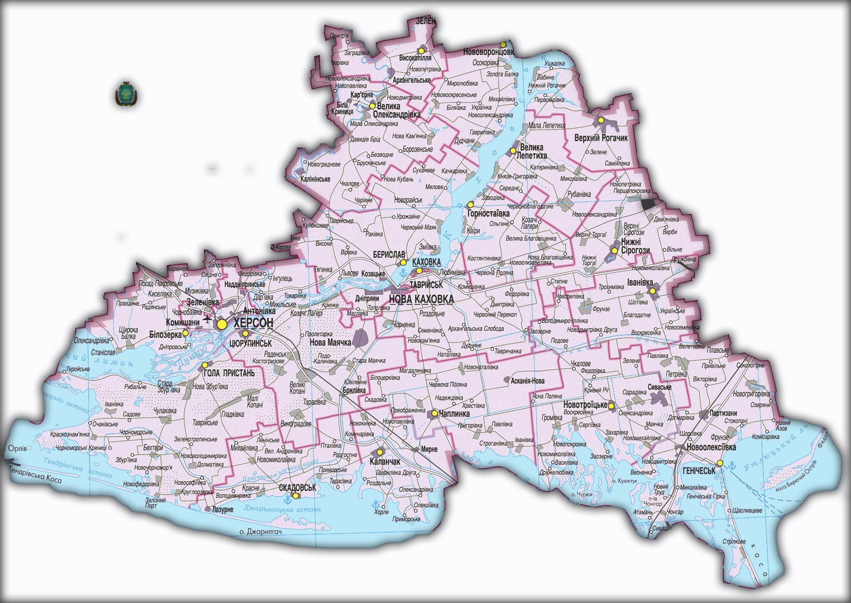 Топографическая карта Херсонской области