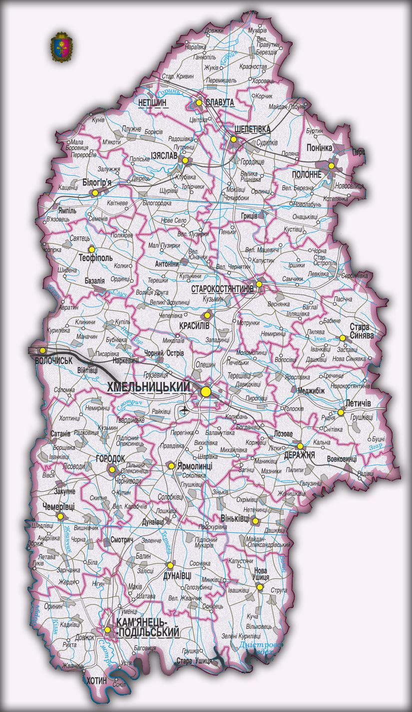 Топографическая карта Хмельницкой области
