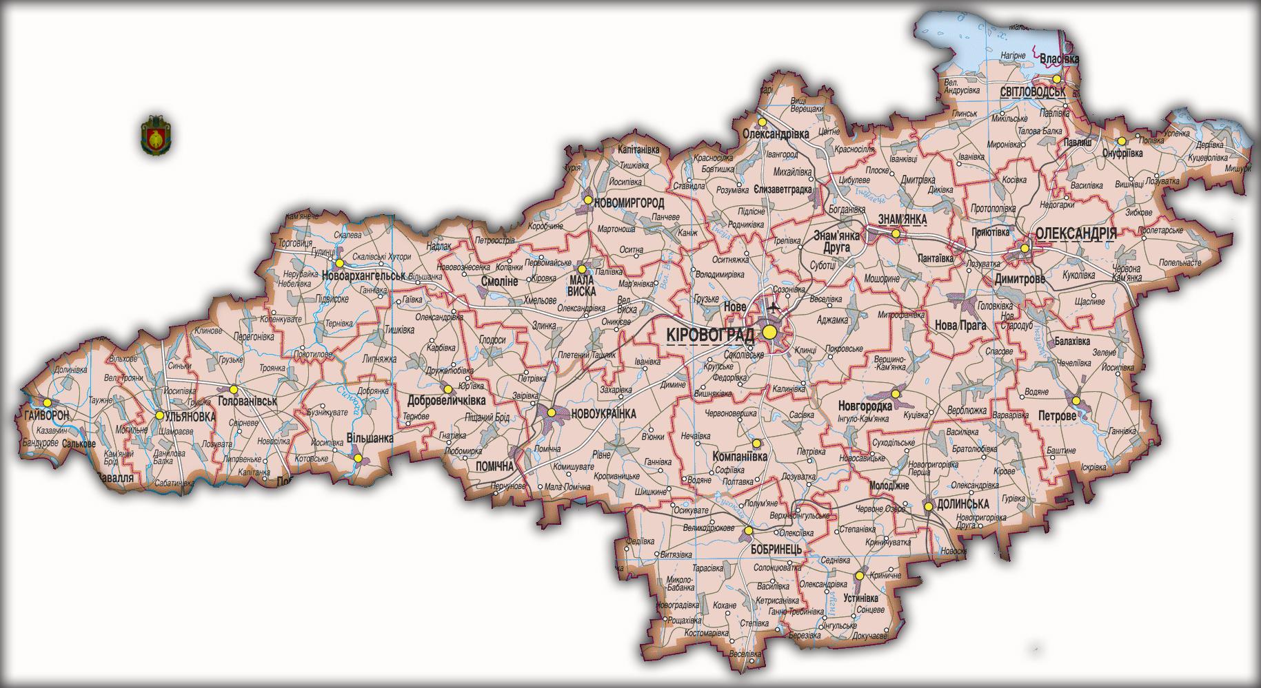 Топографическая карта Кировоградской области