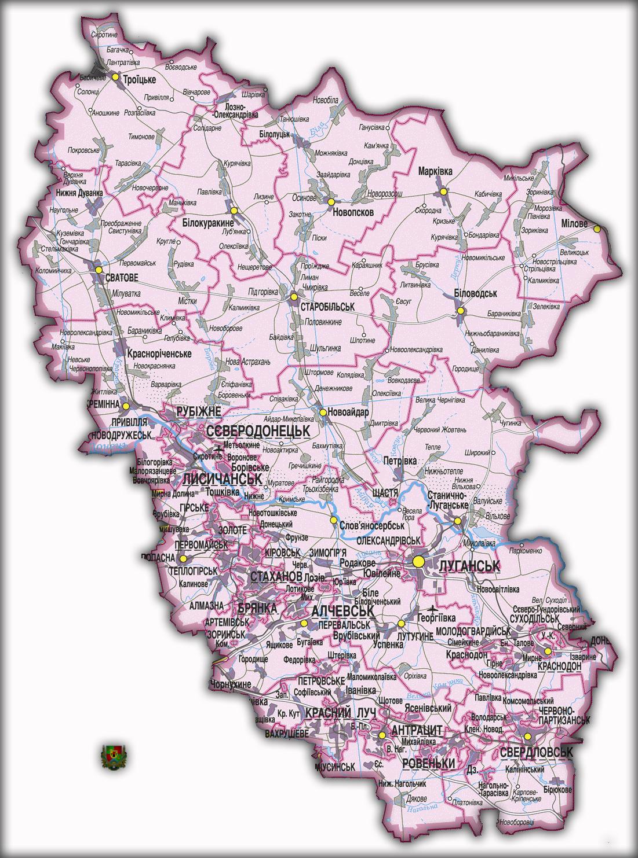 Топографическая карта Луганской области