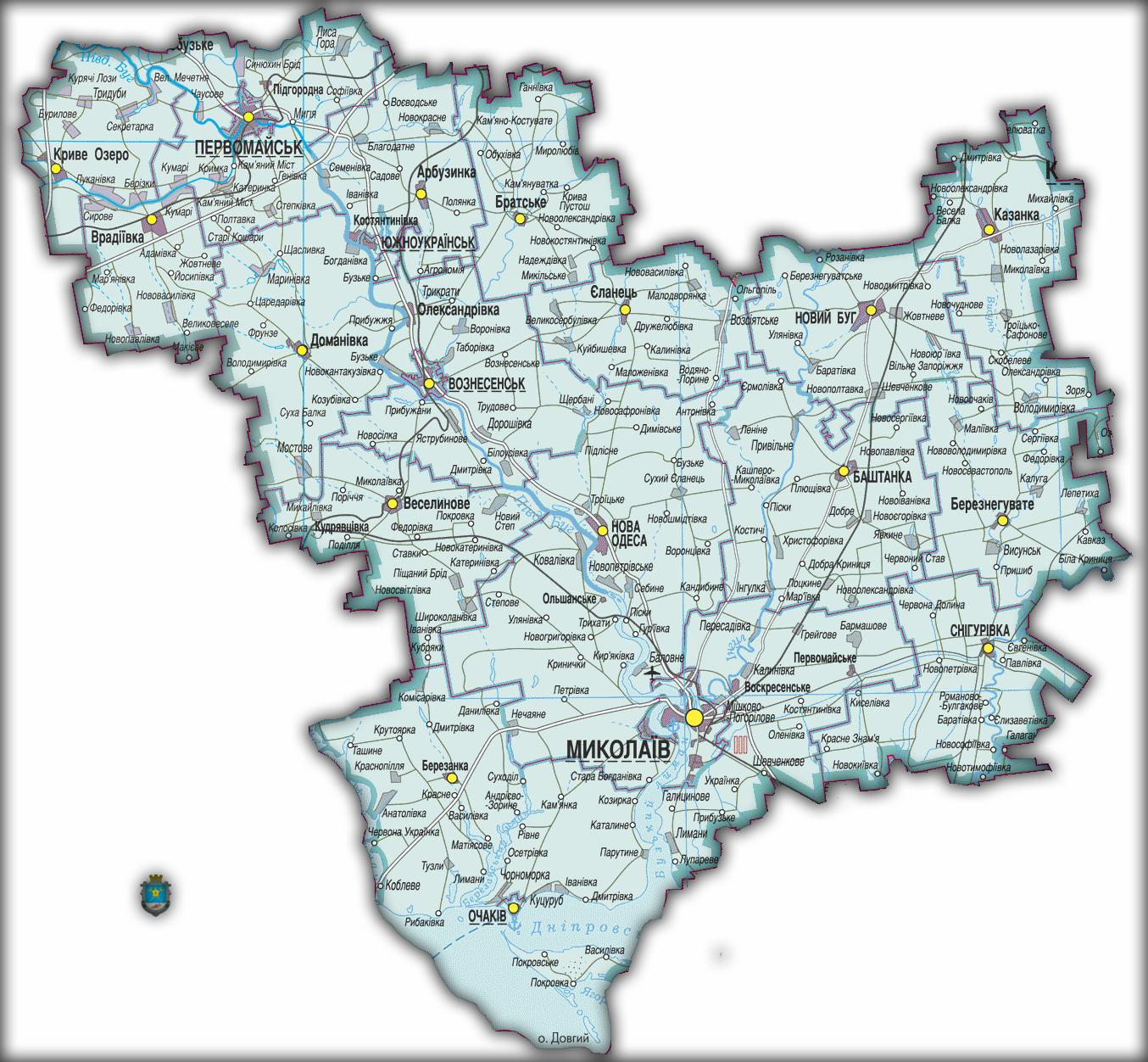 Топографическая карта Николаевской области