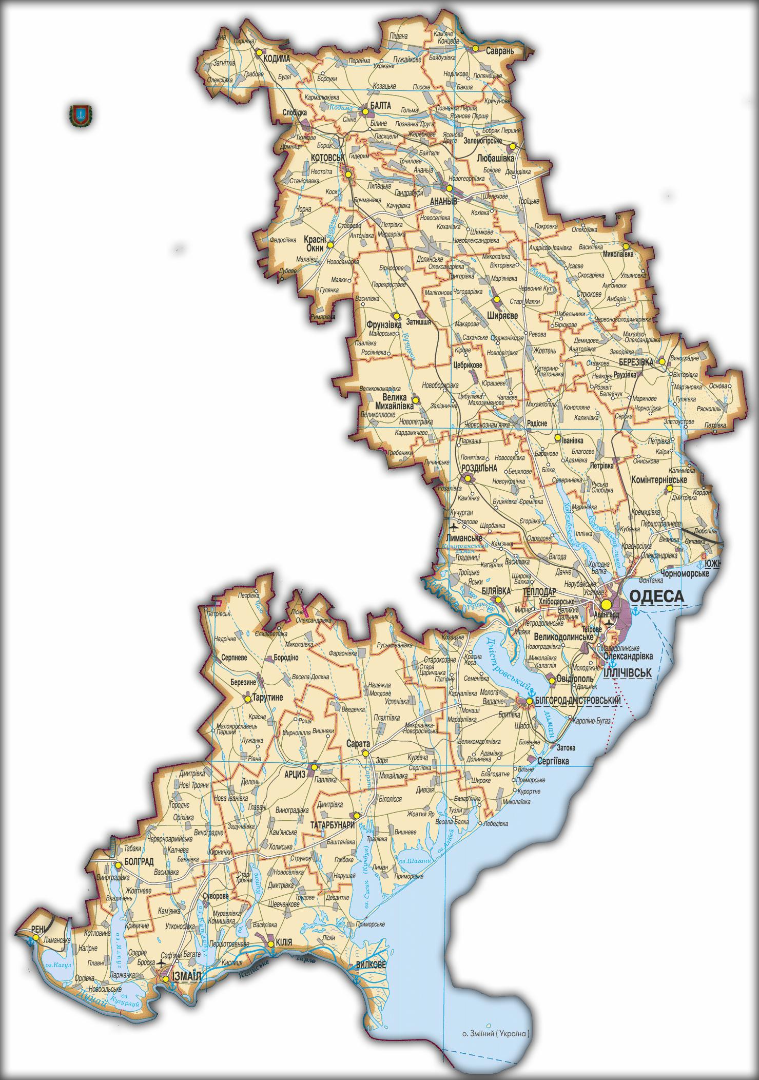 Топографическая карта Одесской области