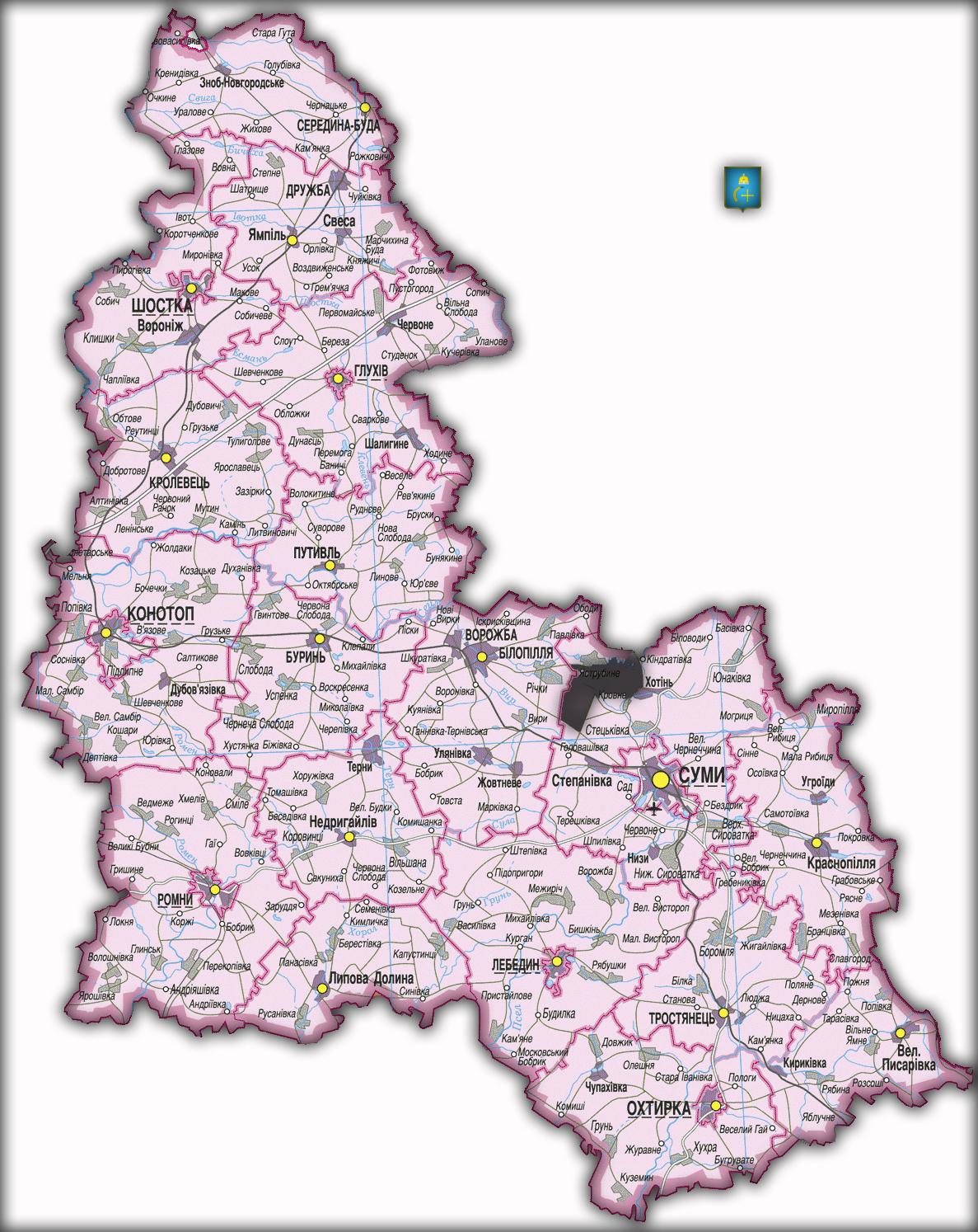 Топографическая карта Сумской области