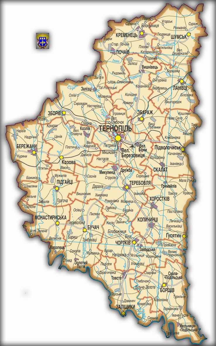 Топографическая карта Тернопольской области
