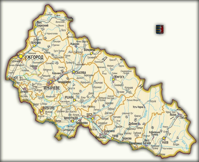 Топографическая карта Закарпатской области