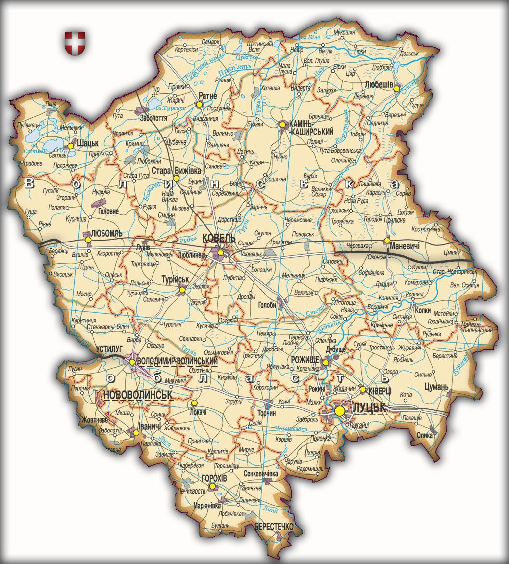 Топографическая карта Волынской области