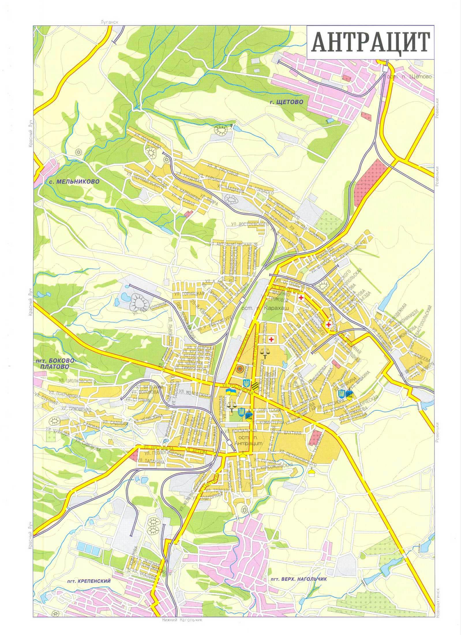Карта города Антрацит