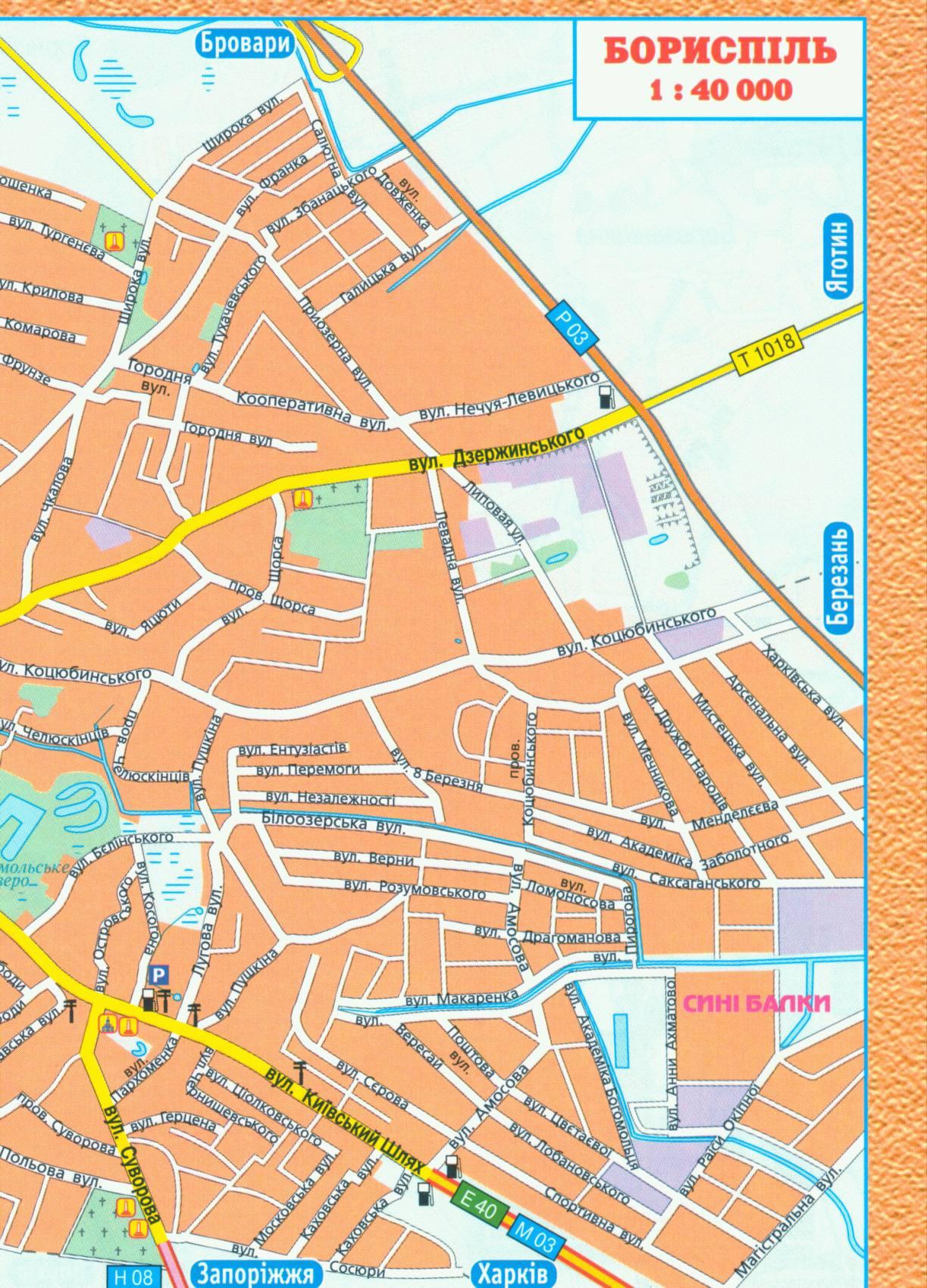Карта города Борисполь