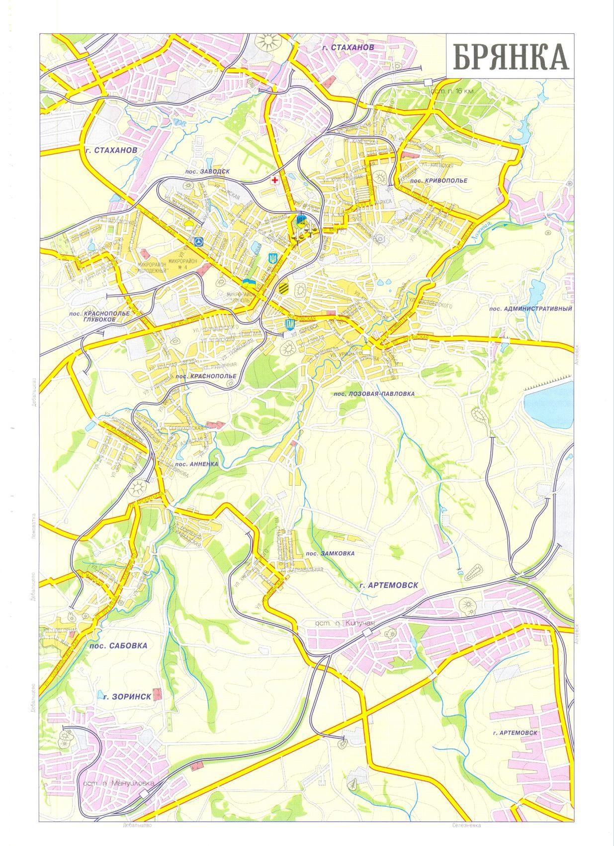 Карта города Брянка