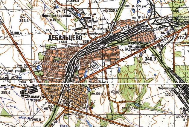 Карта города Дебальцево