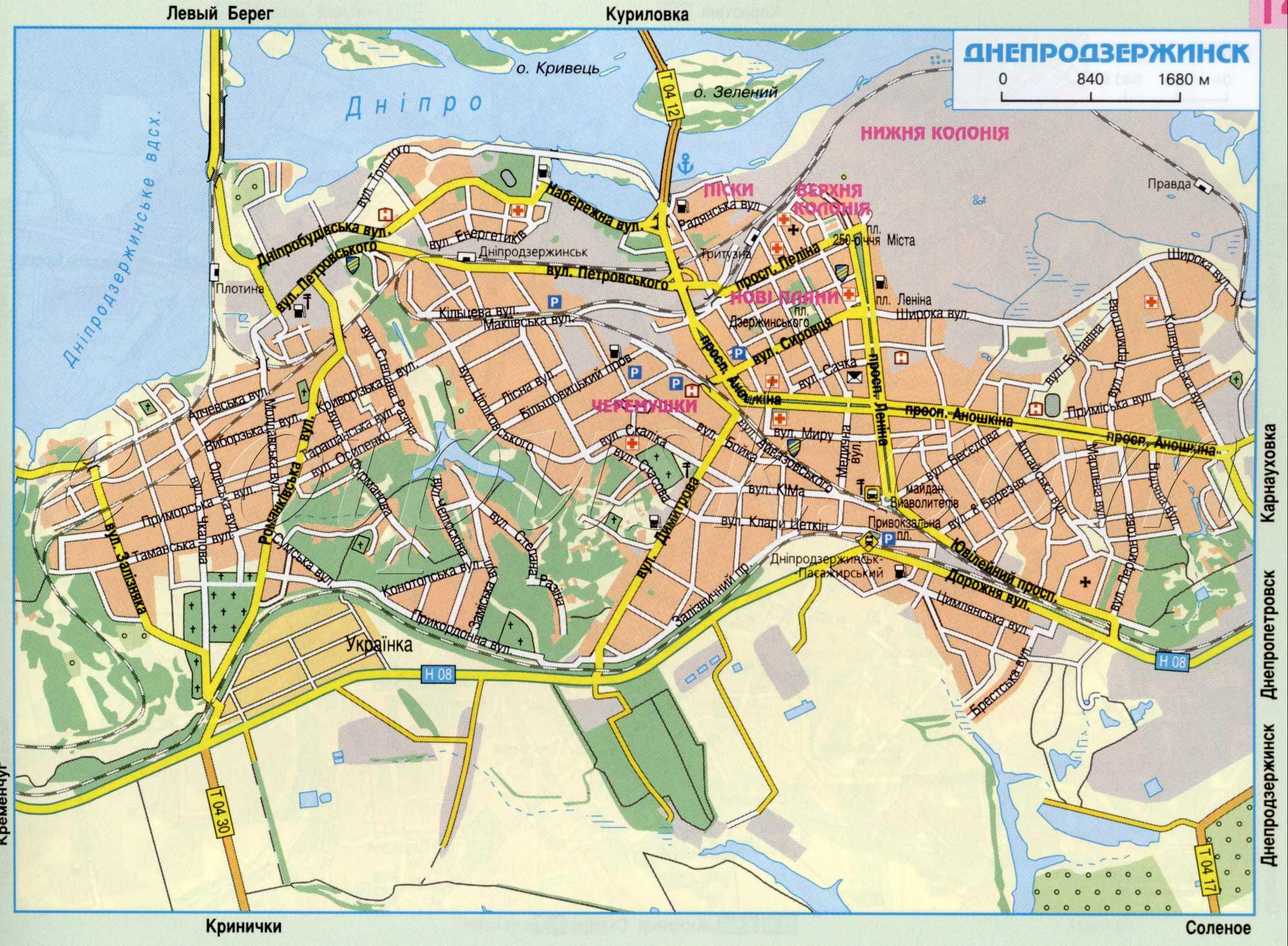 Карта города Днепродзержинск