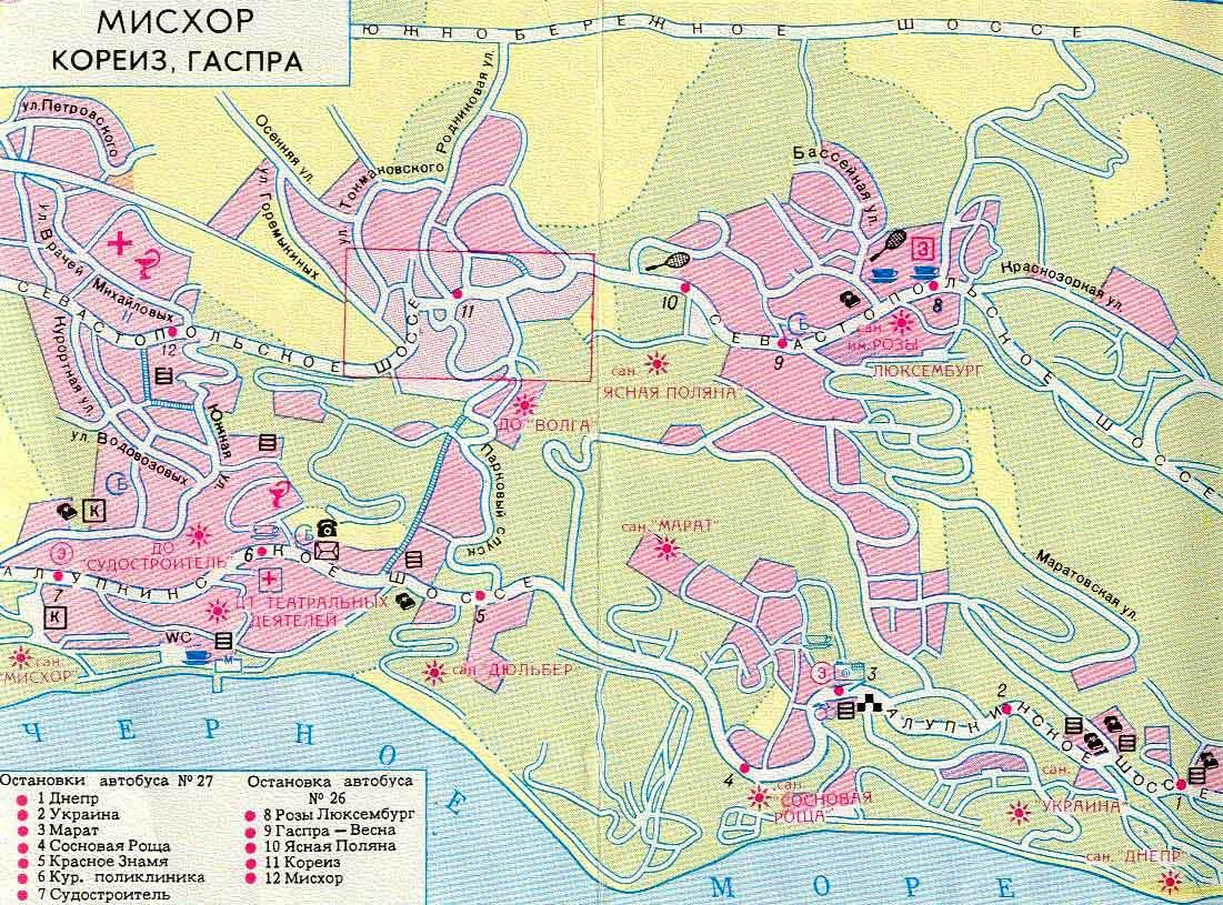 Карта города Гаспра