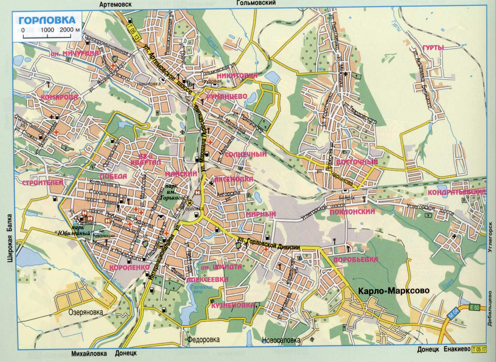 Карта города Горловка