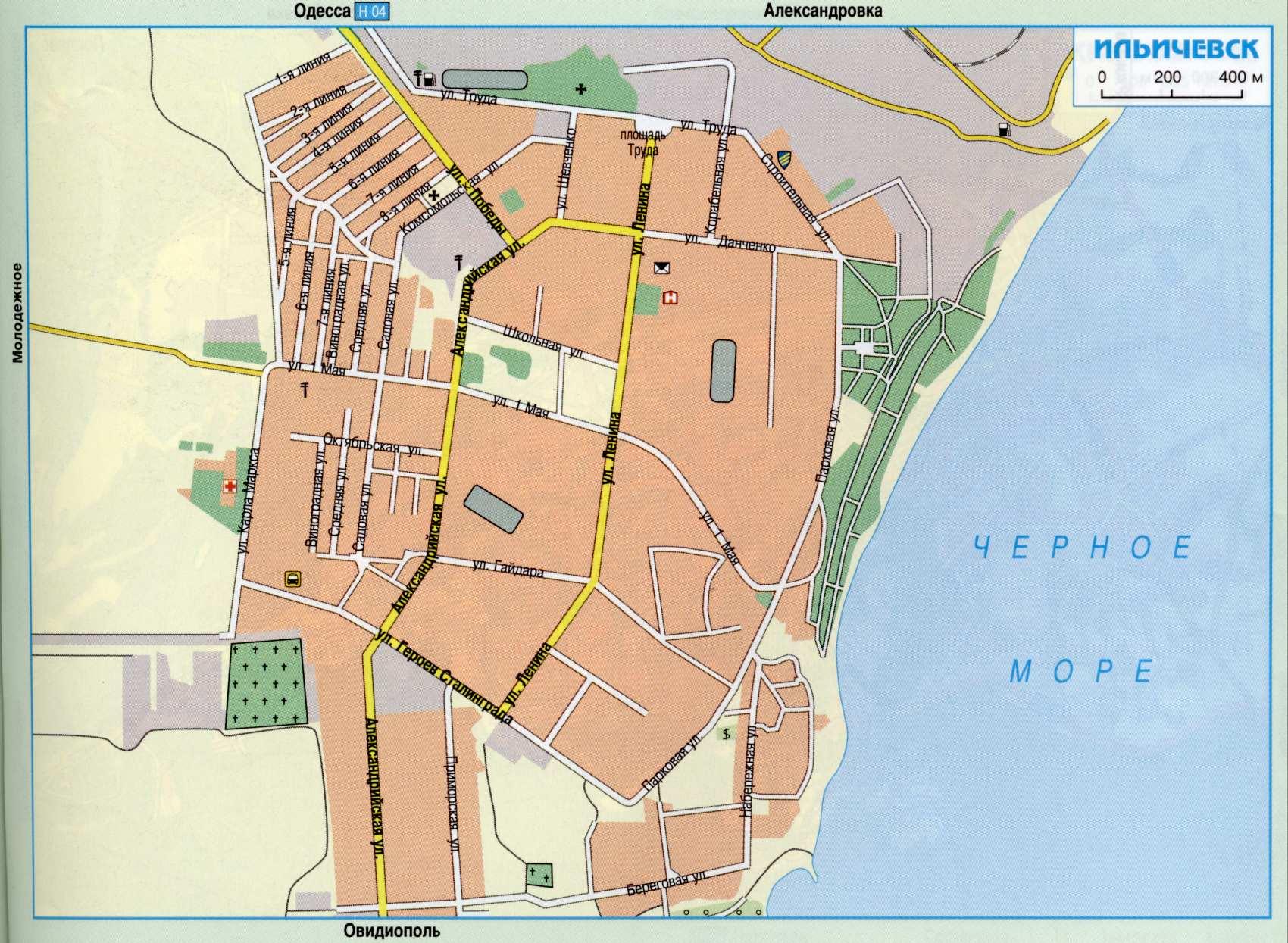 Карта города Ильичёвск