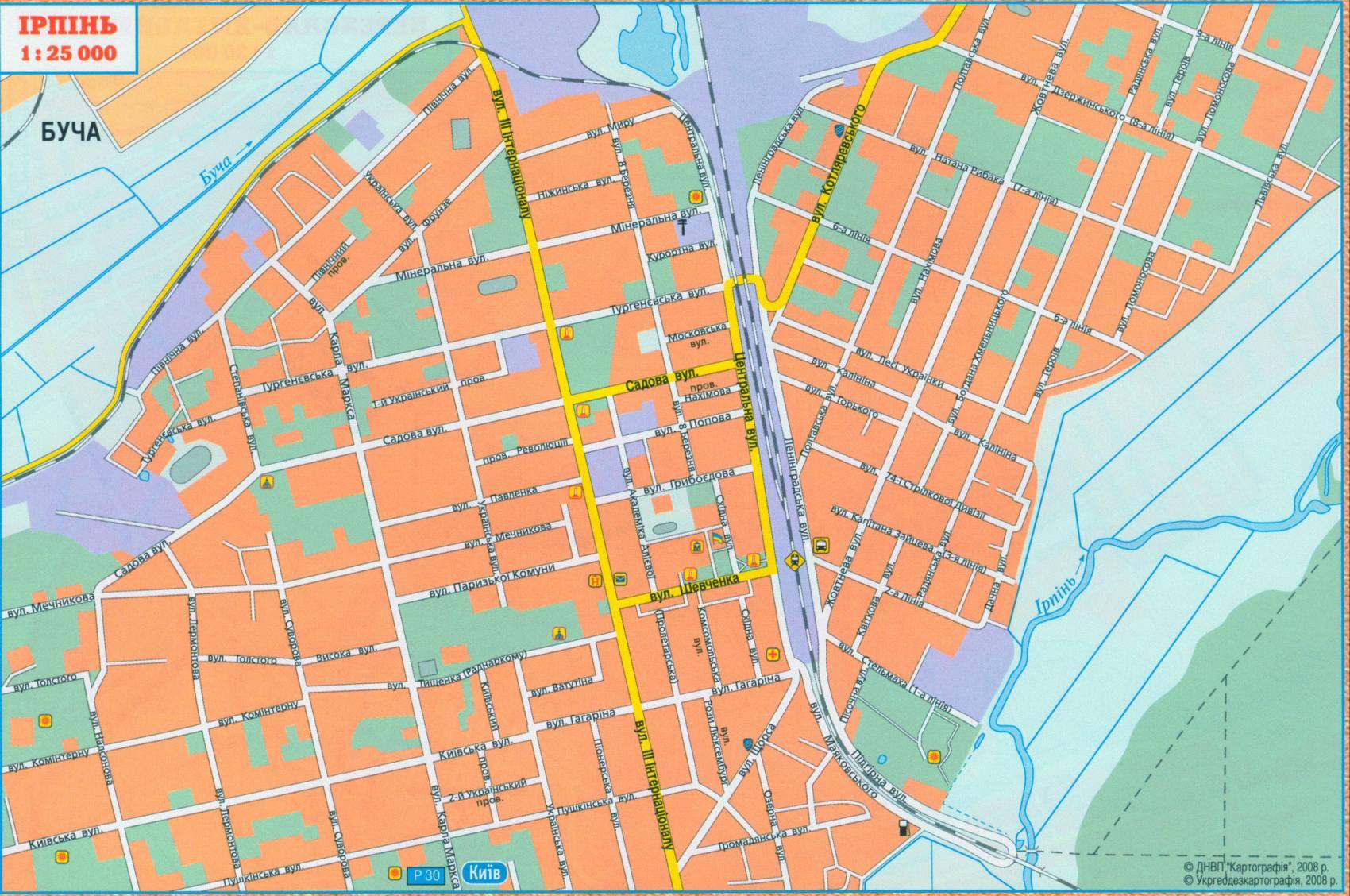 Карта города Ирпень