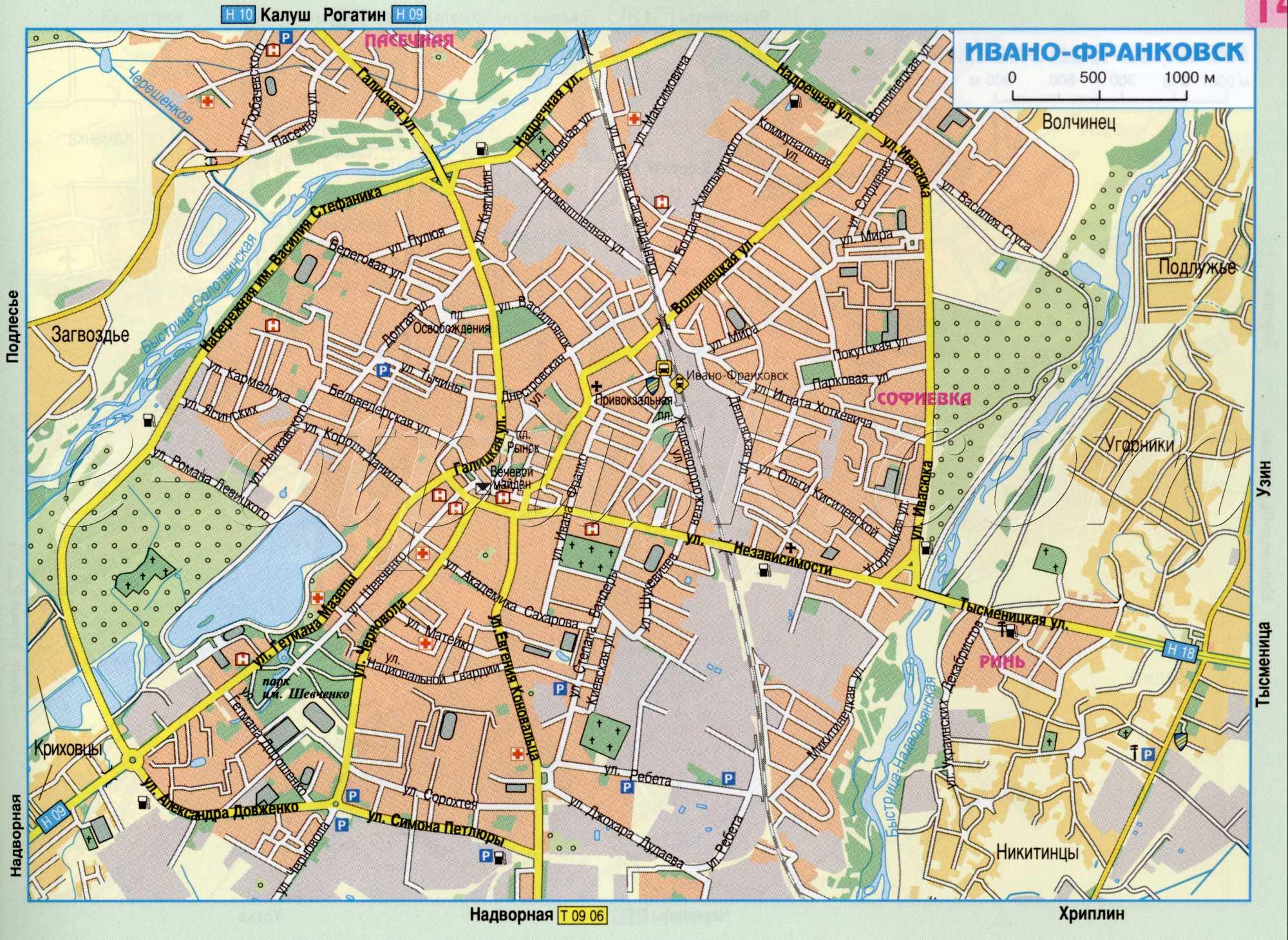 Карта города Ивано-Франковск
