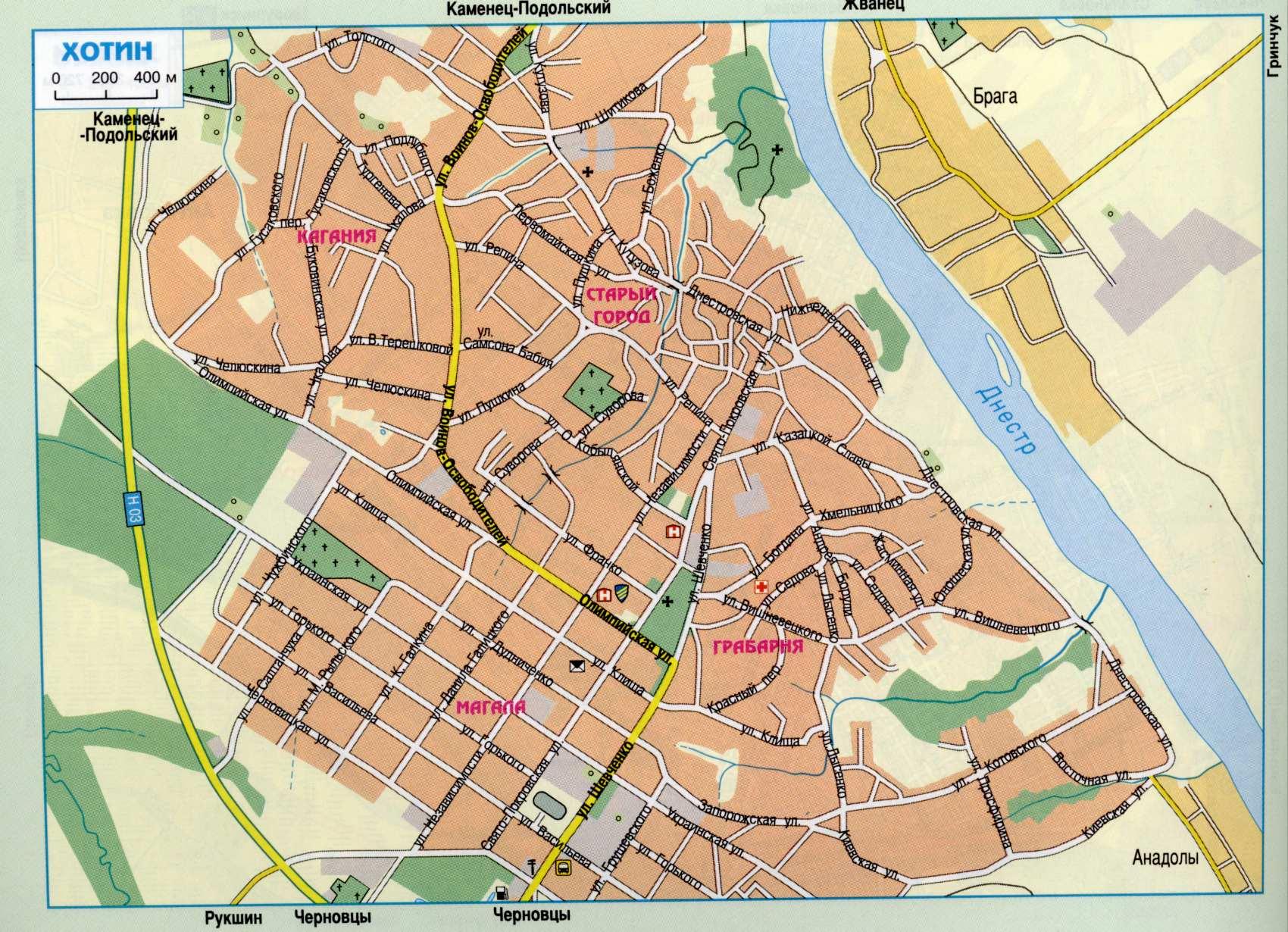 Карта города Хотин
