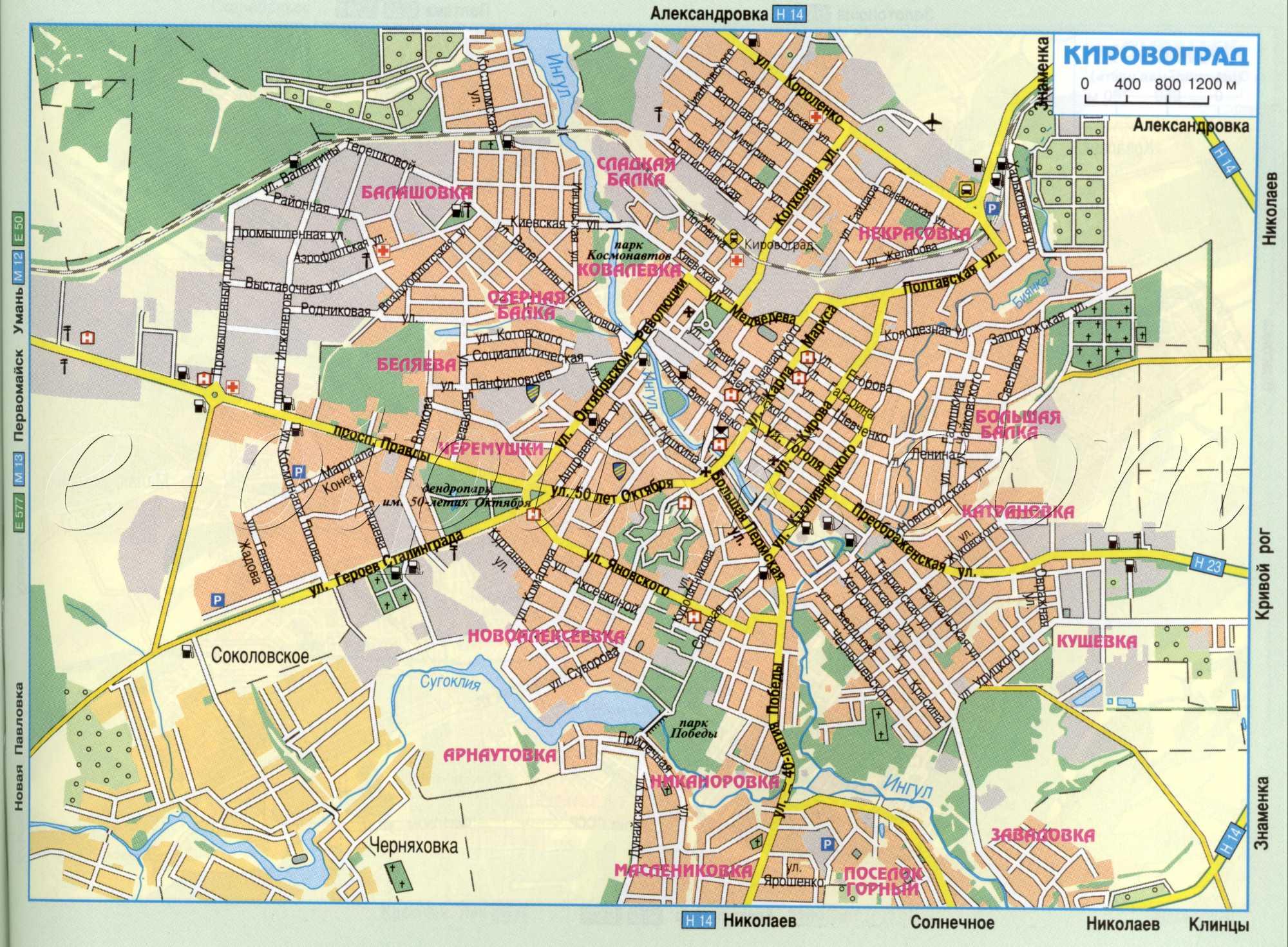 Карта города Кировоград