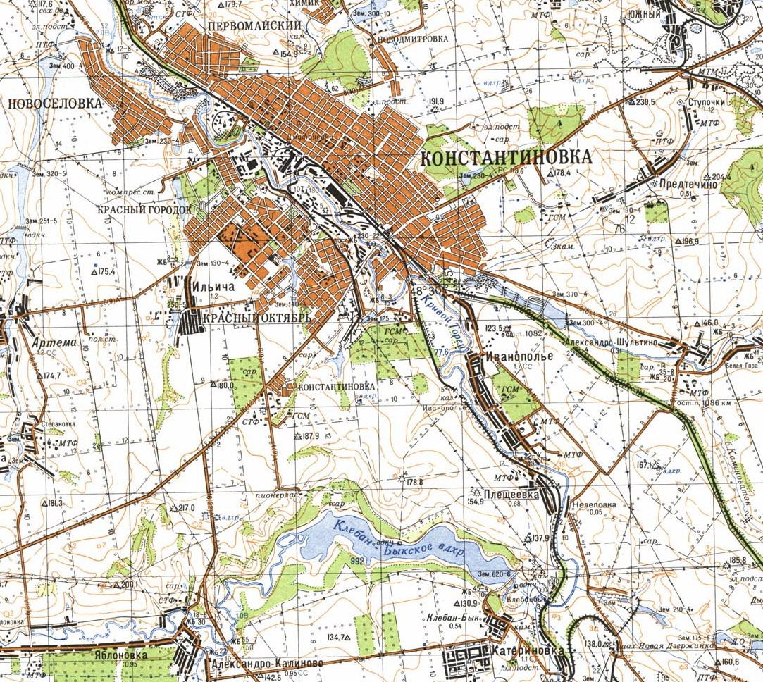 Карта города Константиновка