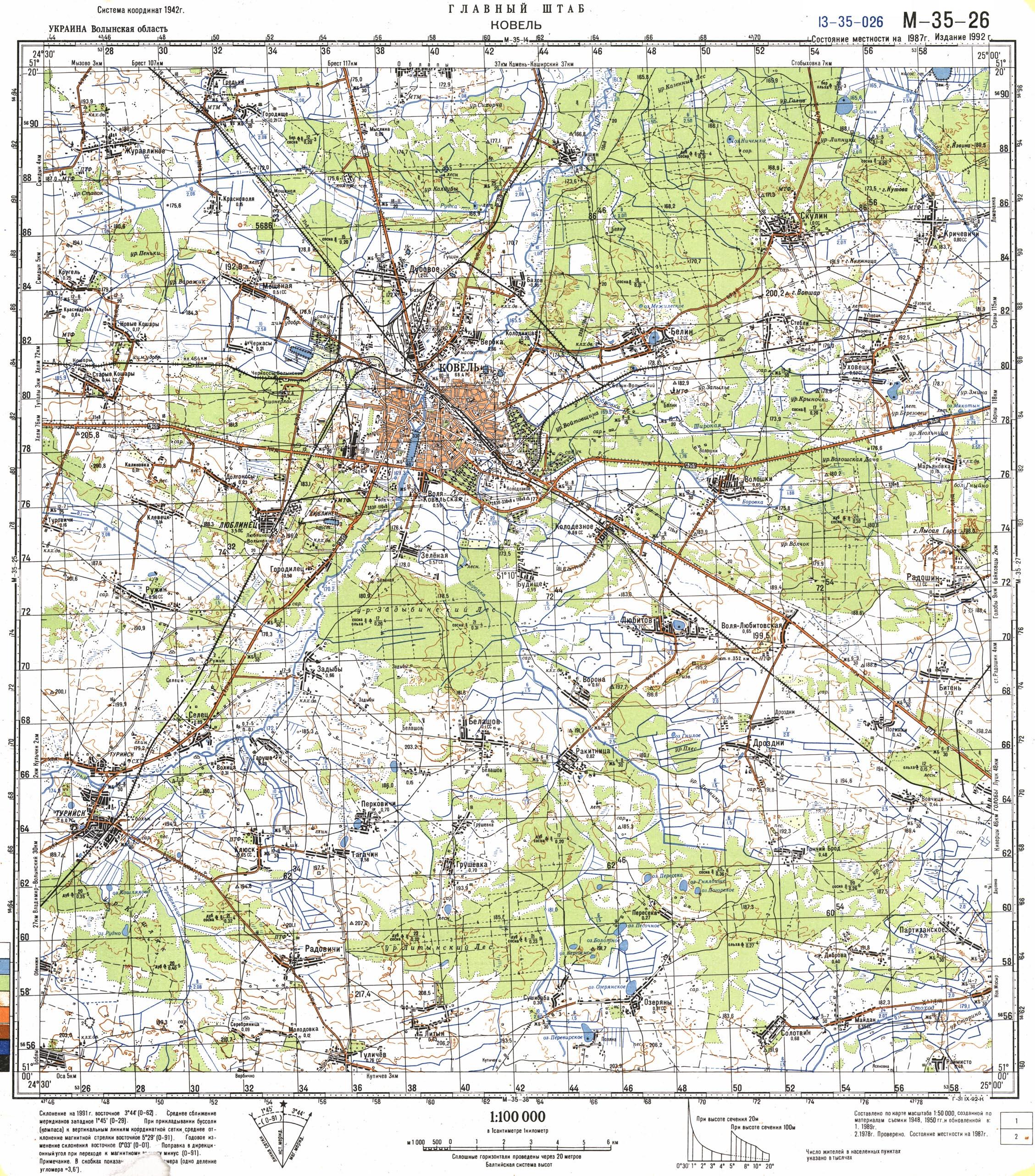 Карта города Ковель