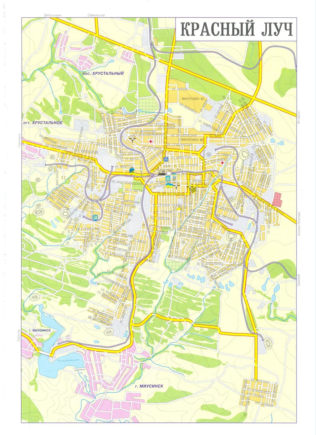 Карта города Красный Луч