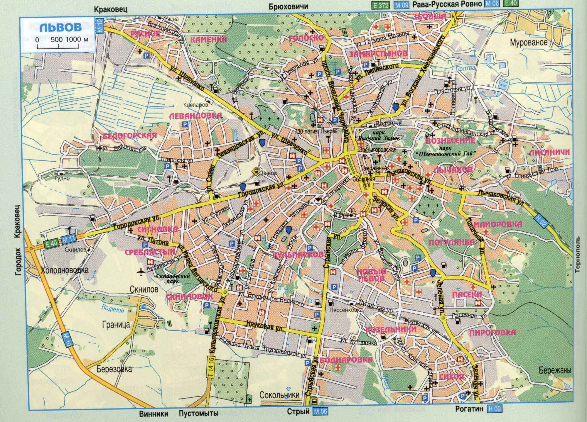 Карта города Львов