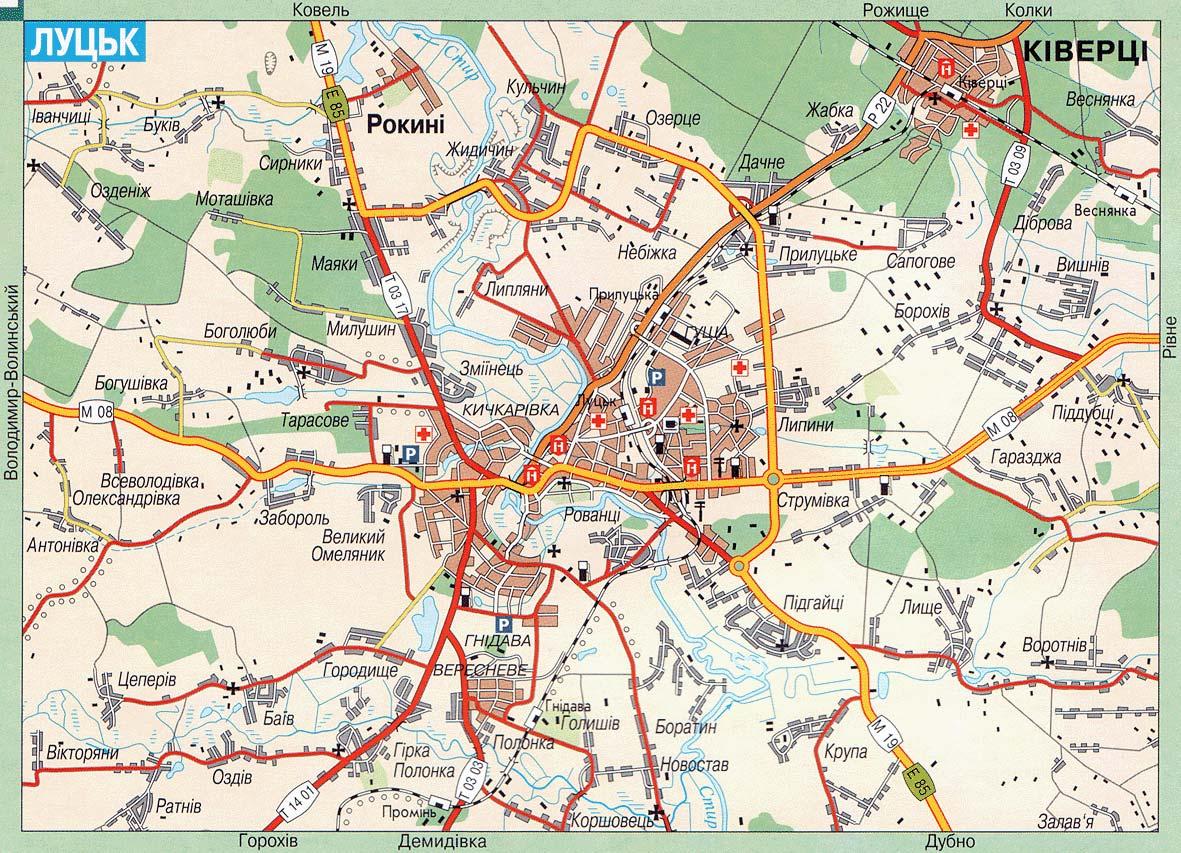 Карта города Луцк
