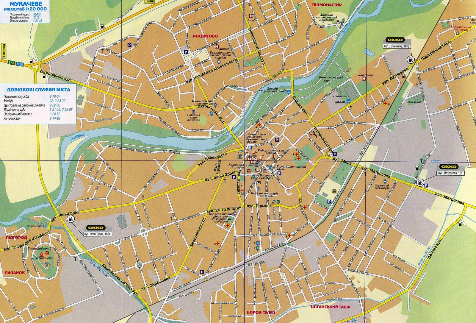 Карта города Мукачево