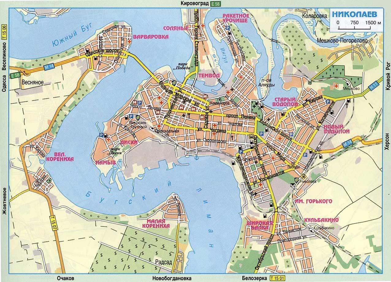 Карта города Николаев