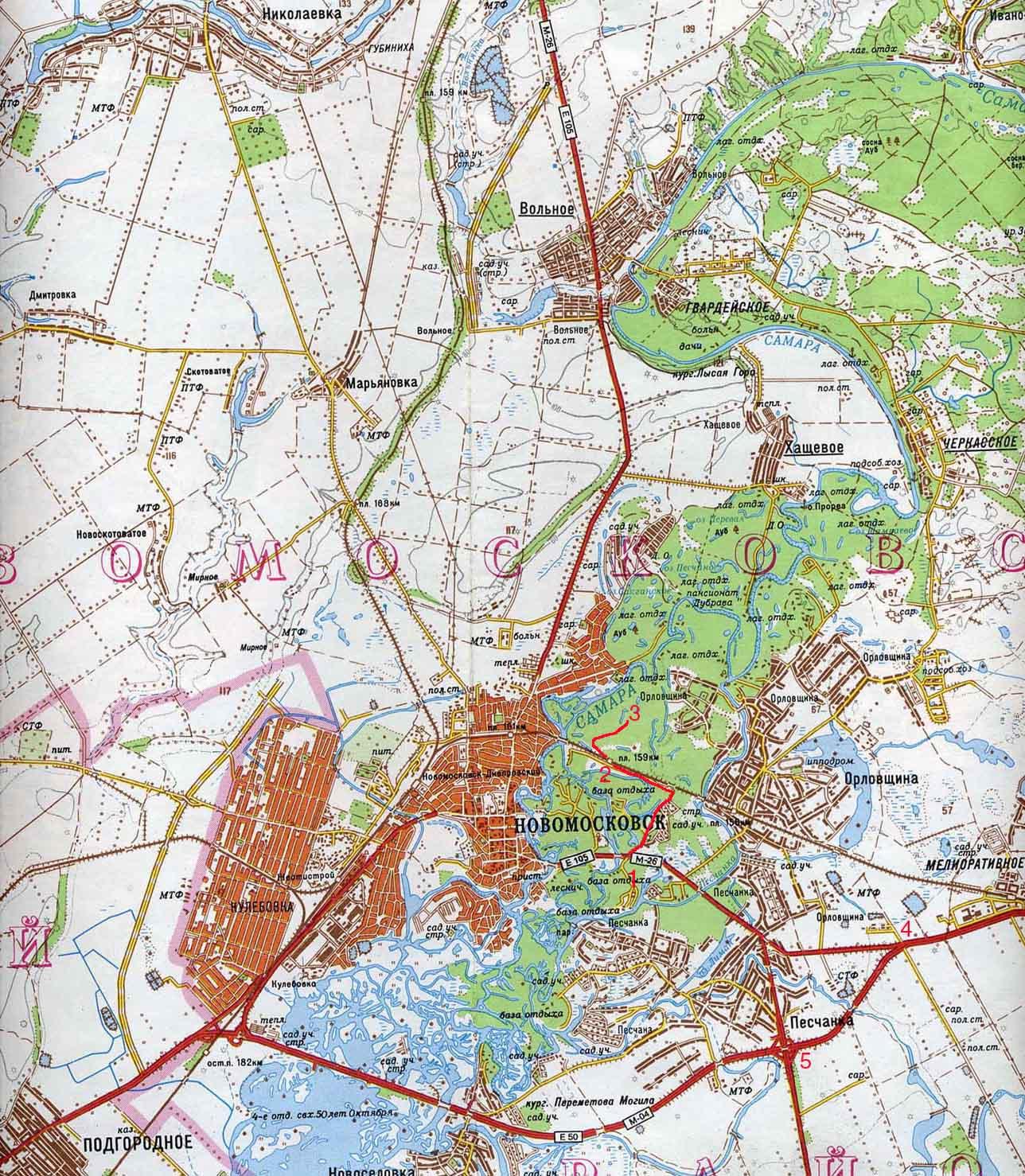 Карта города Новомосковска