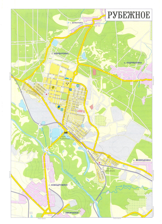 Карта города Рубежное