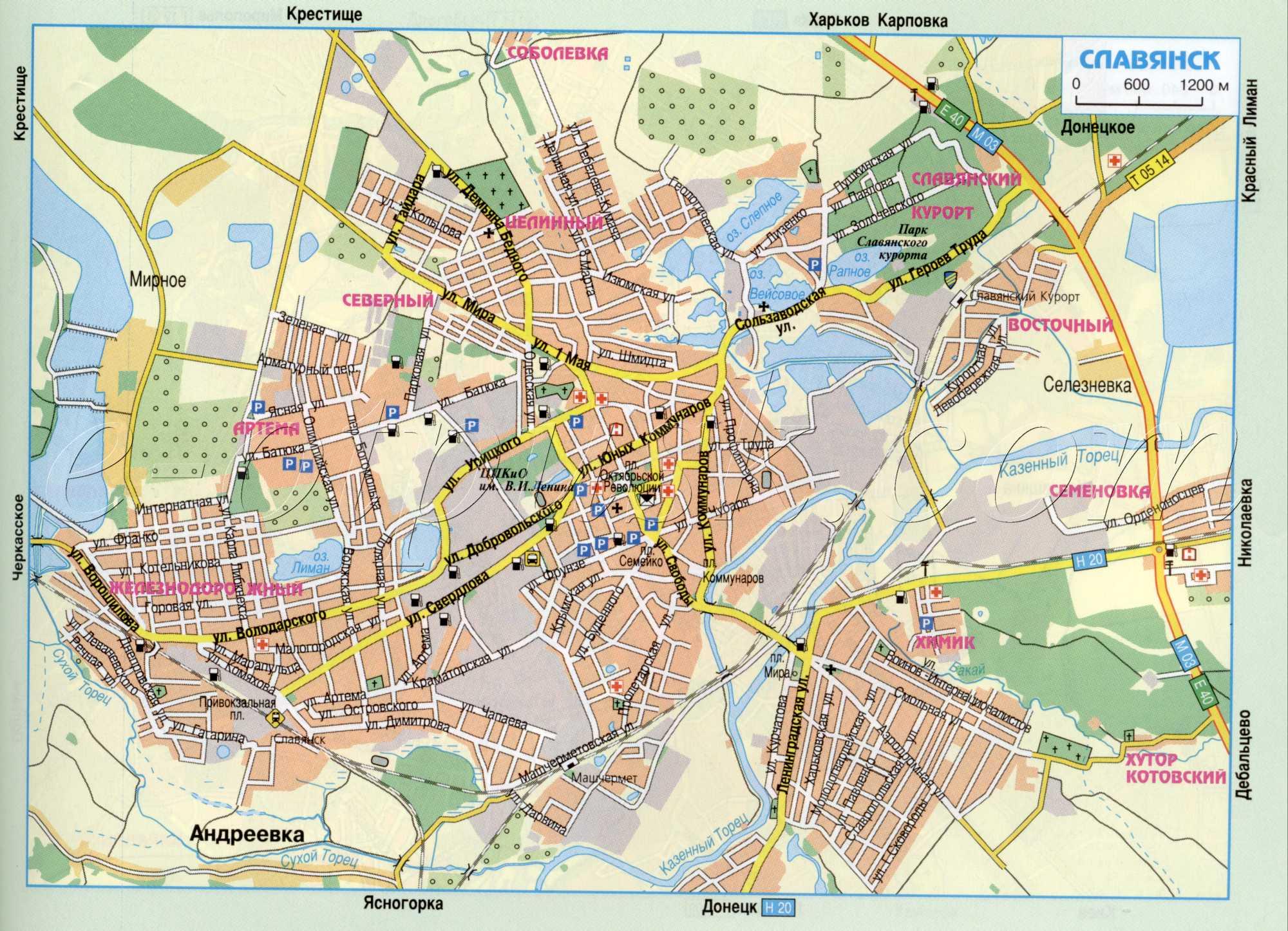 Карта города Славянск