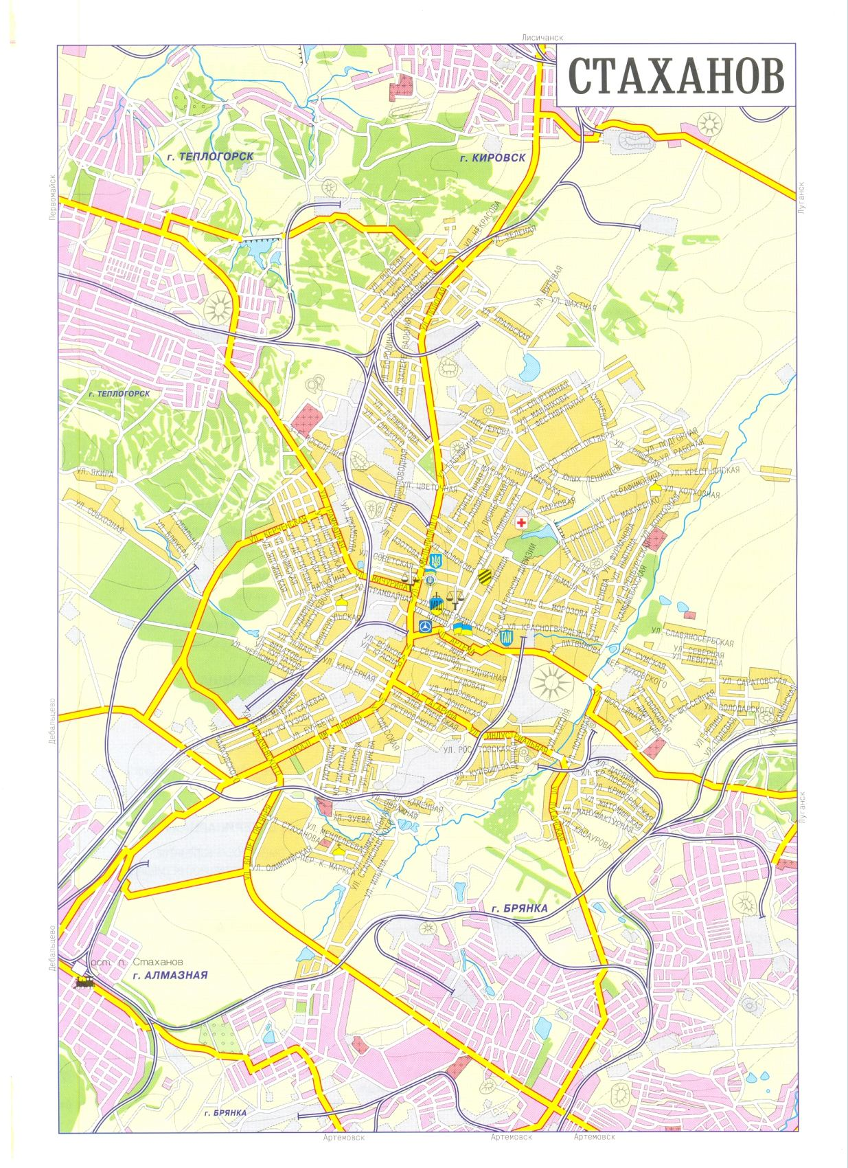 Карта города Стаханов
