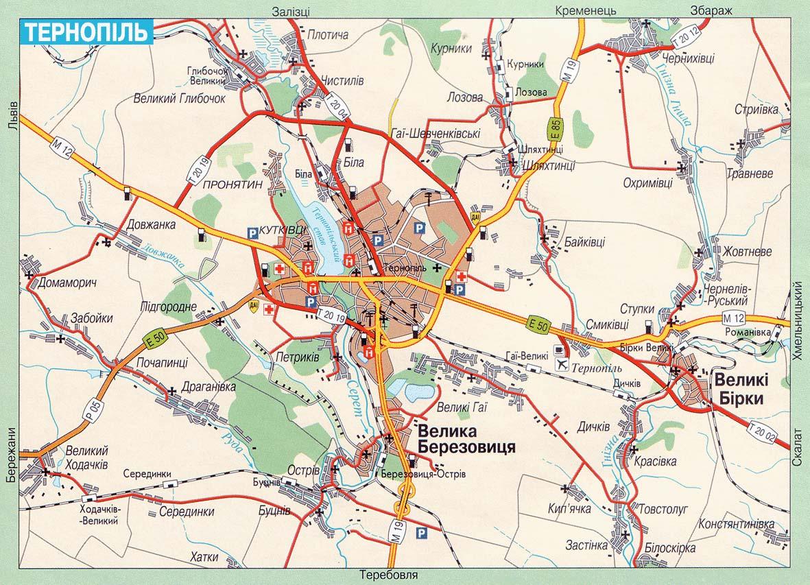 Карта города Тернополь