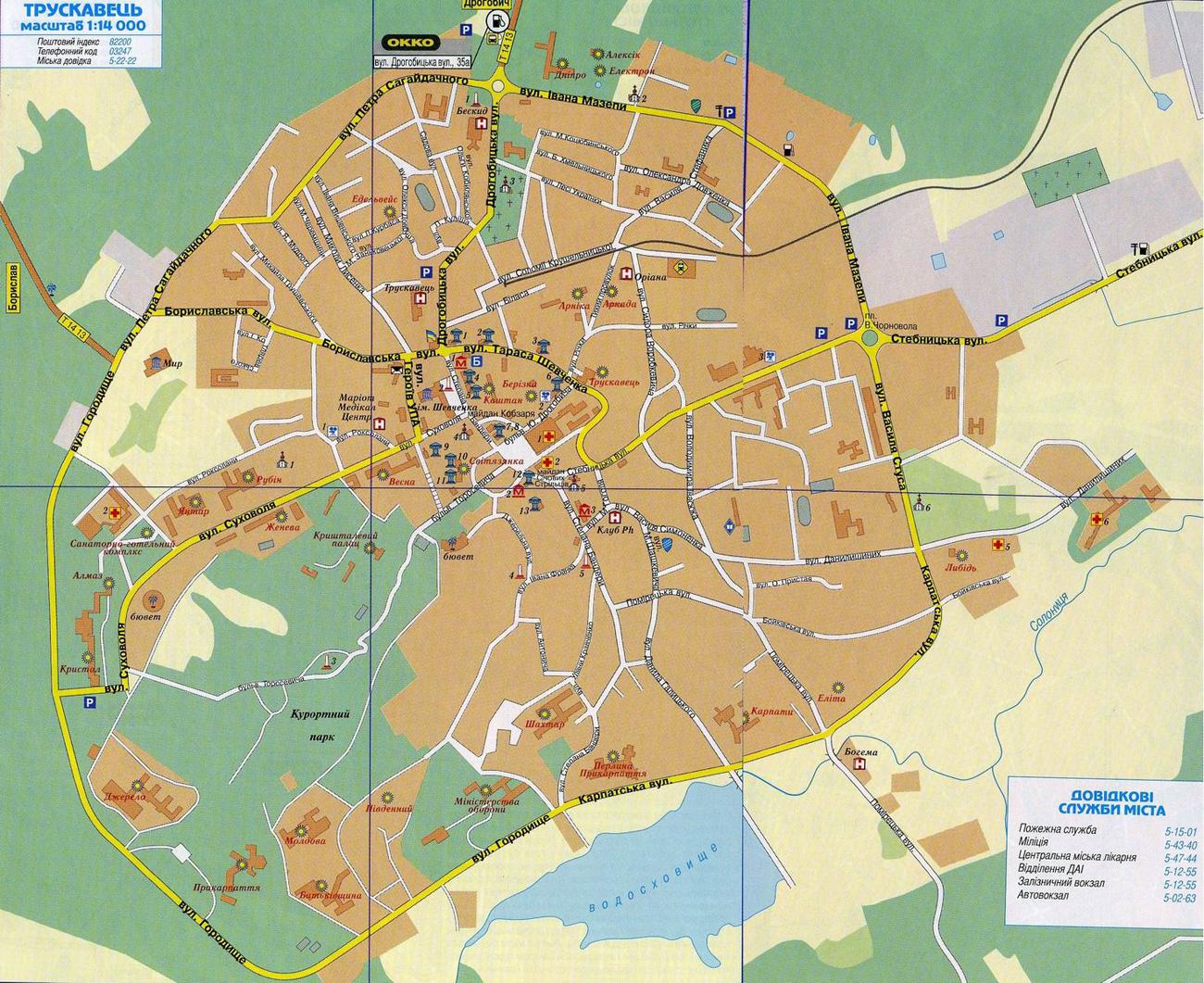 Карта города Трускавец