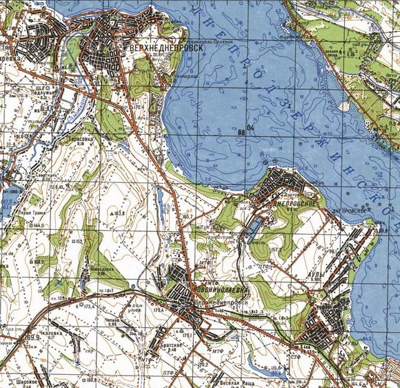 Карта города Верхнеднепровска