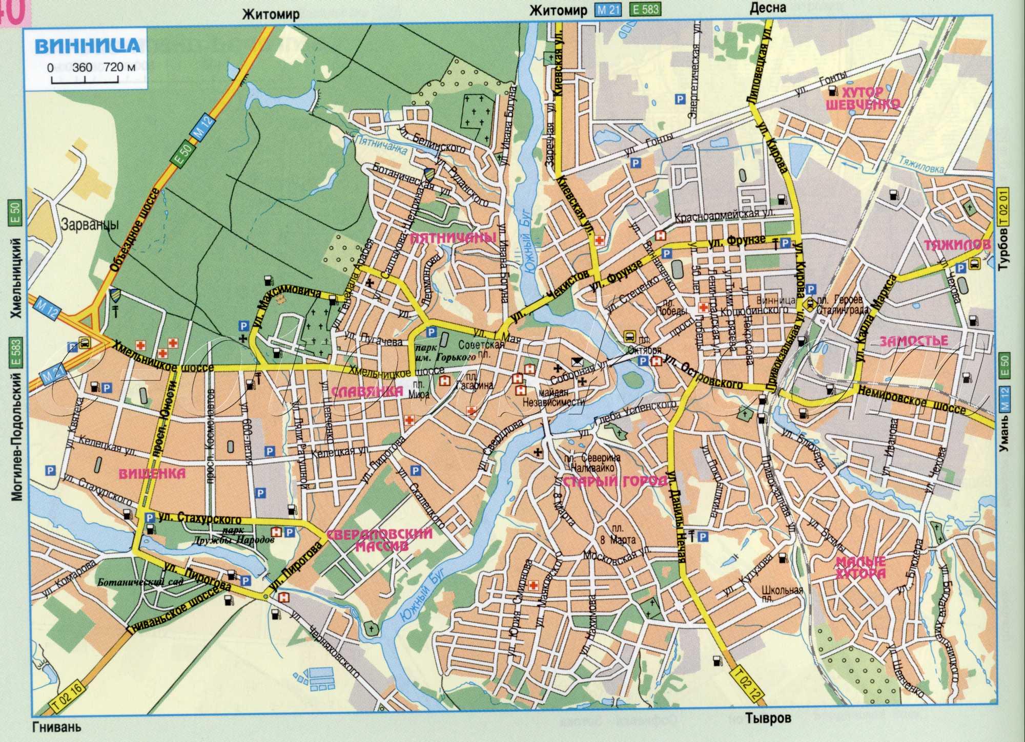 Карта города Винница