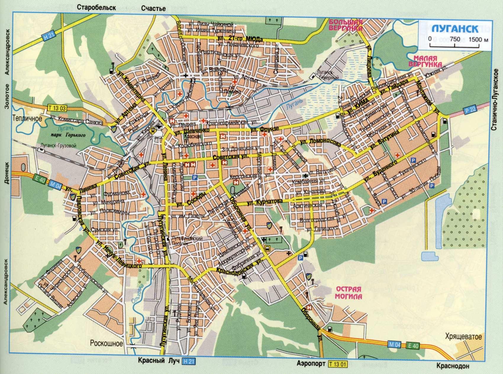 Карта города Луганск