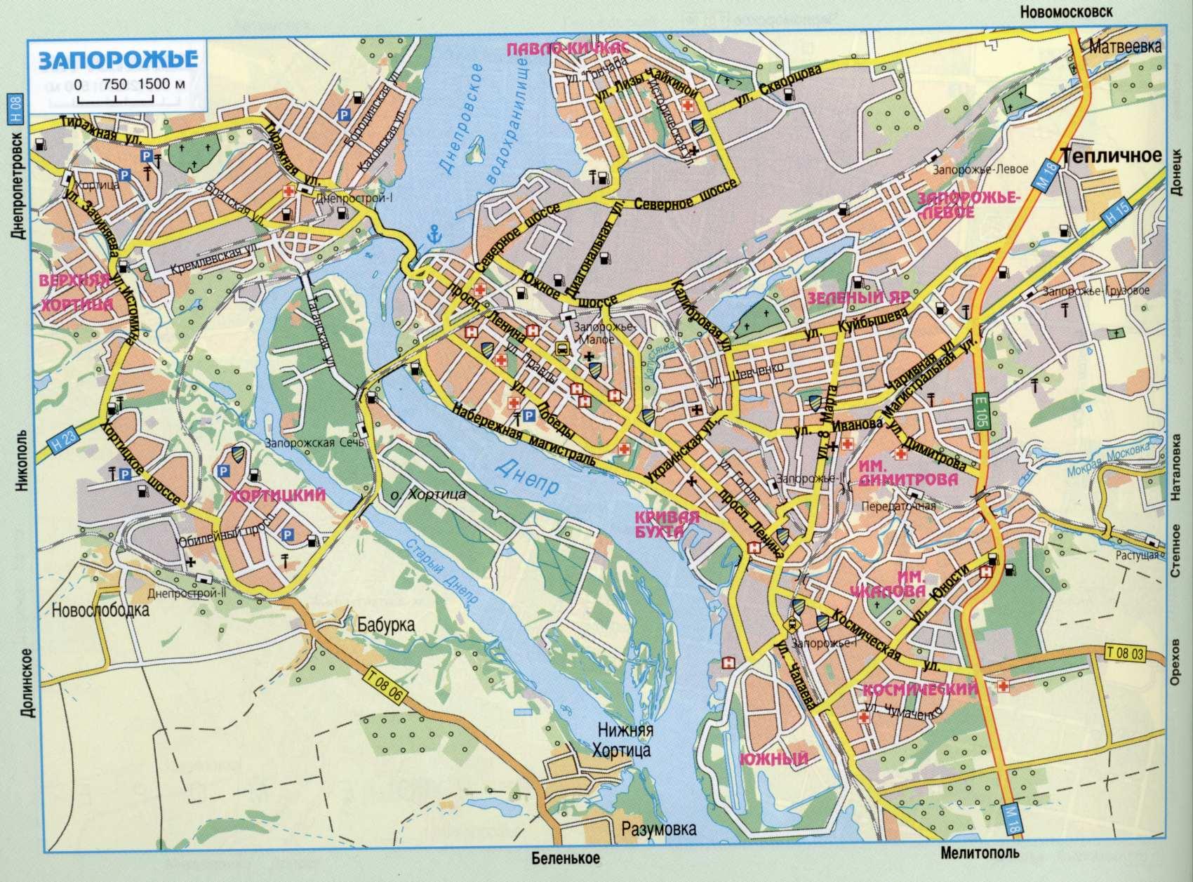 Карта города Запорожье
