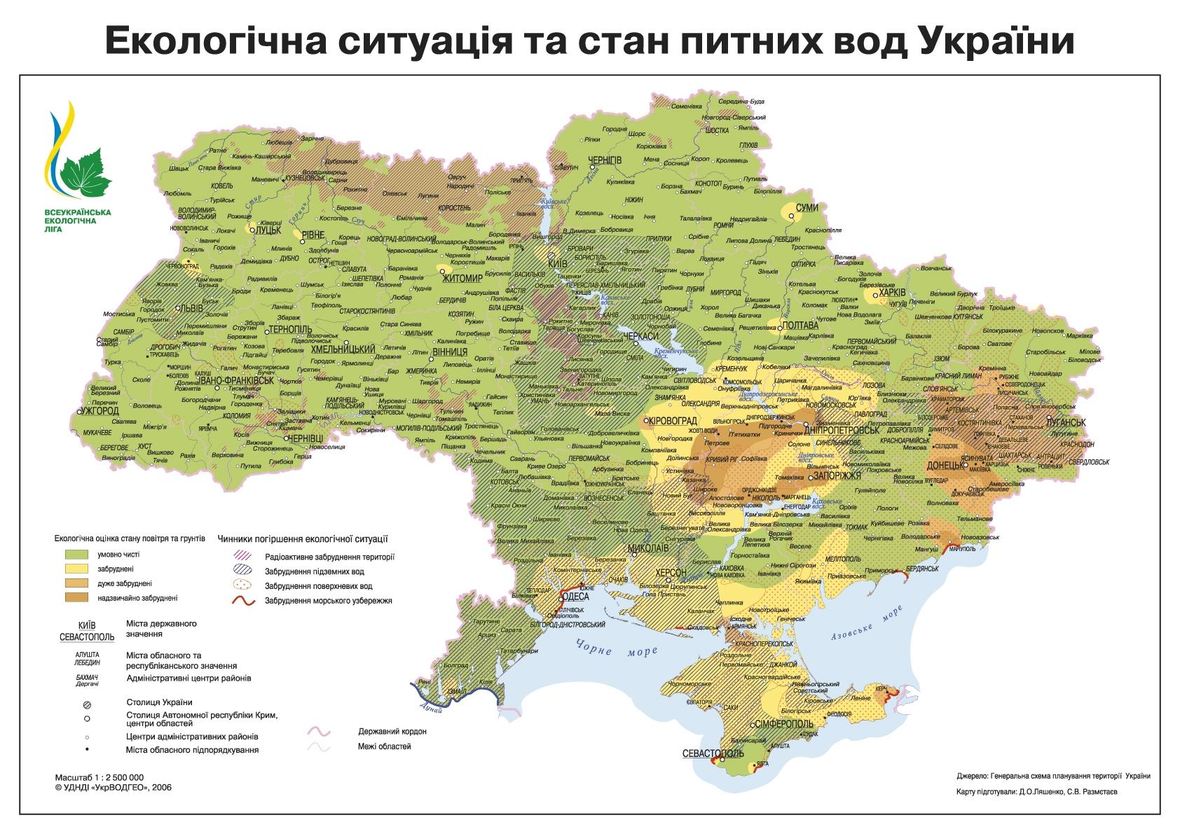 Карта питьевых вод Украины